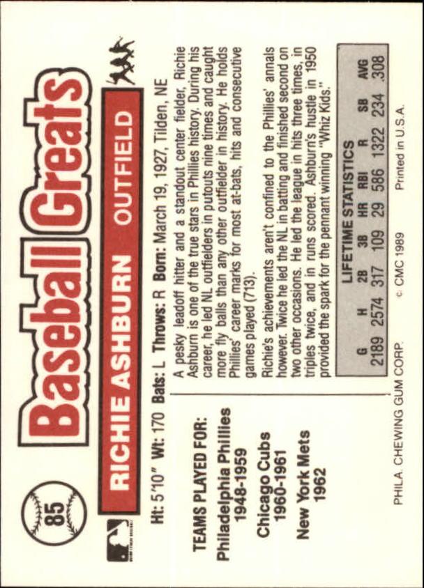 1989 Swell Baseball Greats #85 Richie Ashburn back image