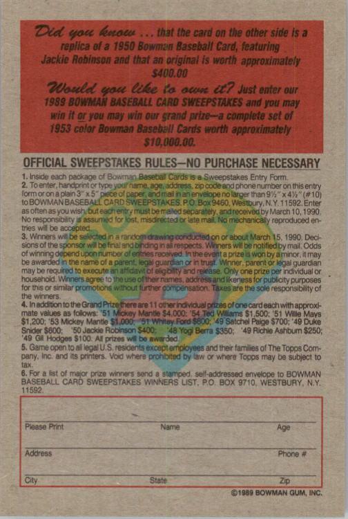 1989 Bowman Reprint Inserts #9 Jackie Robinson 50 back image