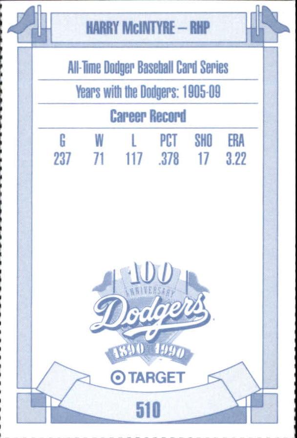 1990 Dodgers Target #510 Harry McIntire back image