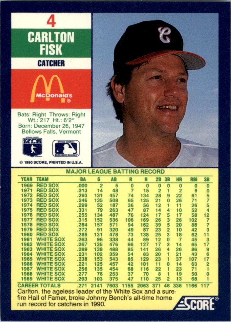 1990 Score McDonald's #4 Carlton Fisk back image