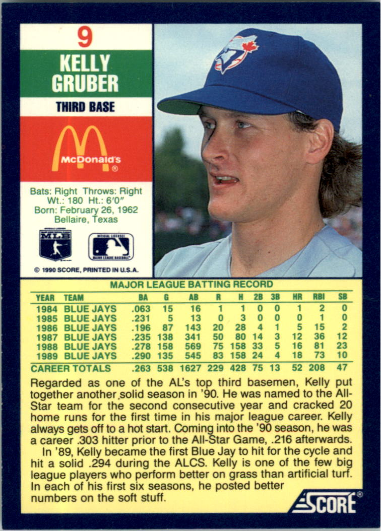 1990 Score McDonald's #9 Kelly Gruber back image
