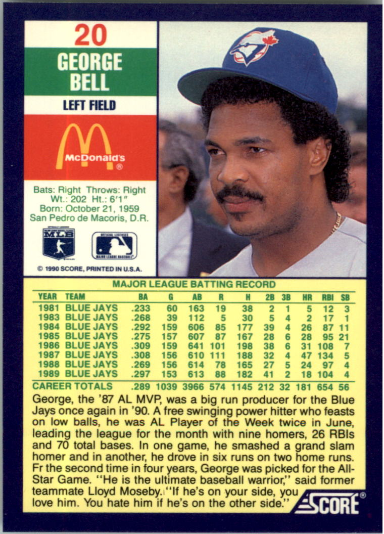 1990 Score McDonald's #20 George Bell back image