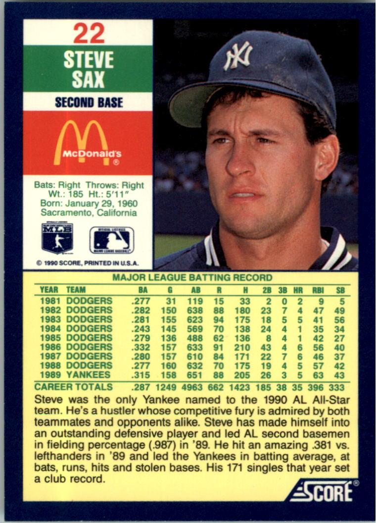 1990 Score McDonald's #22 Steve Sax back image
