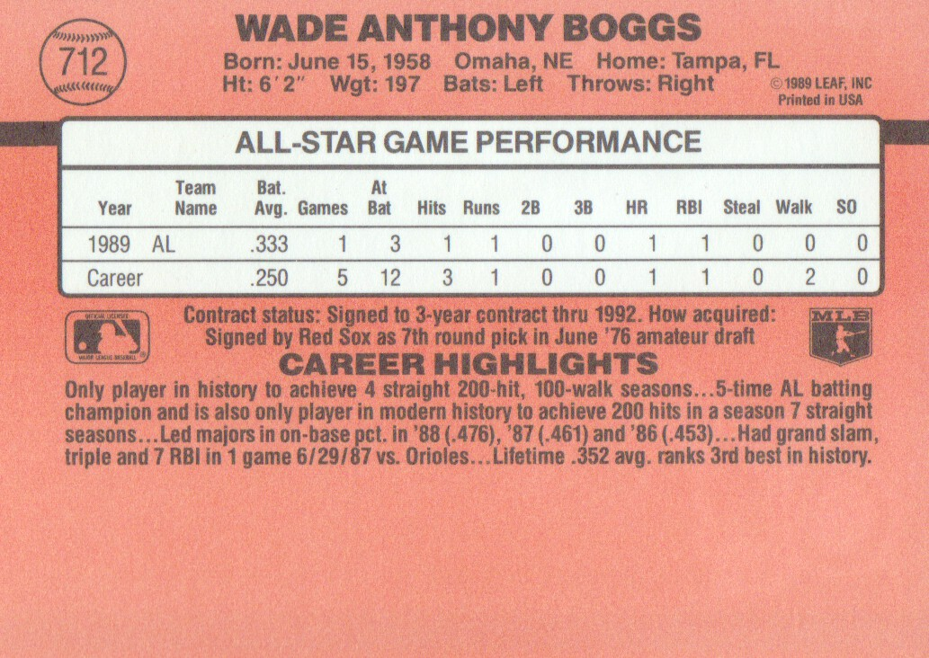 1990 Donruss #712B Wade Boggs AS/All-Star Game/Performance back image