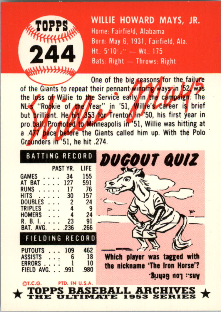 1991 Topps Archives 1953 #244 Willie Mays back image
