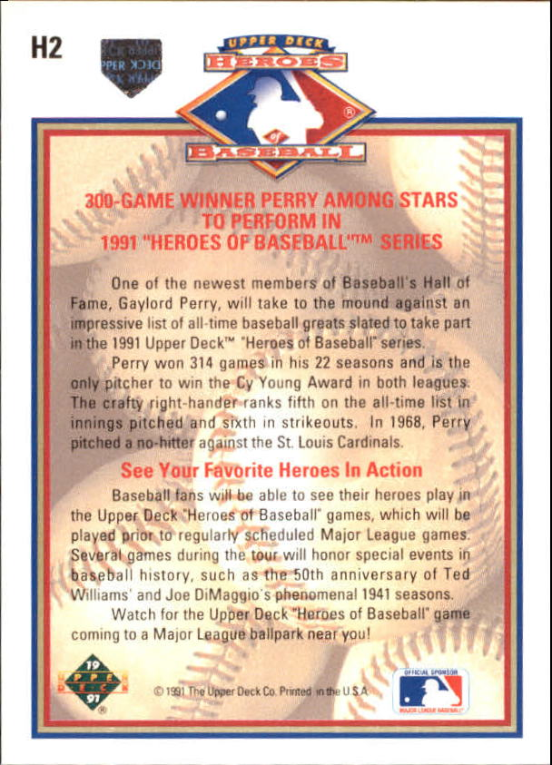 1991 Upper Deck Heroes of Baseball #H2 Gaylord Perry back image