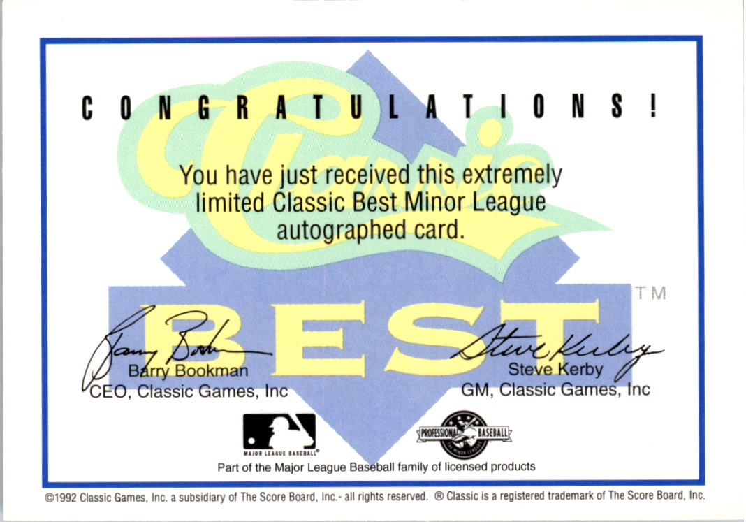 1992 Classic/Best Autographs #AU4 Mike Schmidt/4100 back image