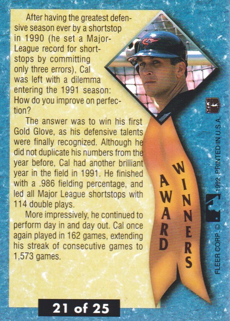 1992 Ultra Award Winners #21B Cal Ripken COR back image