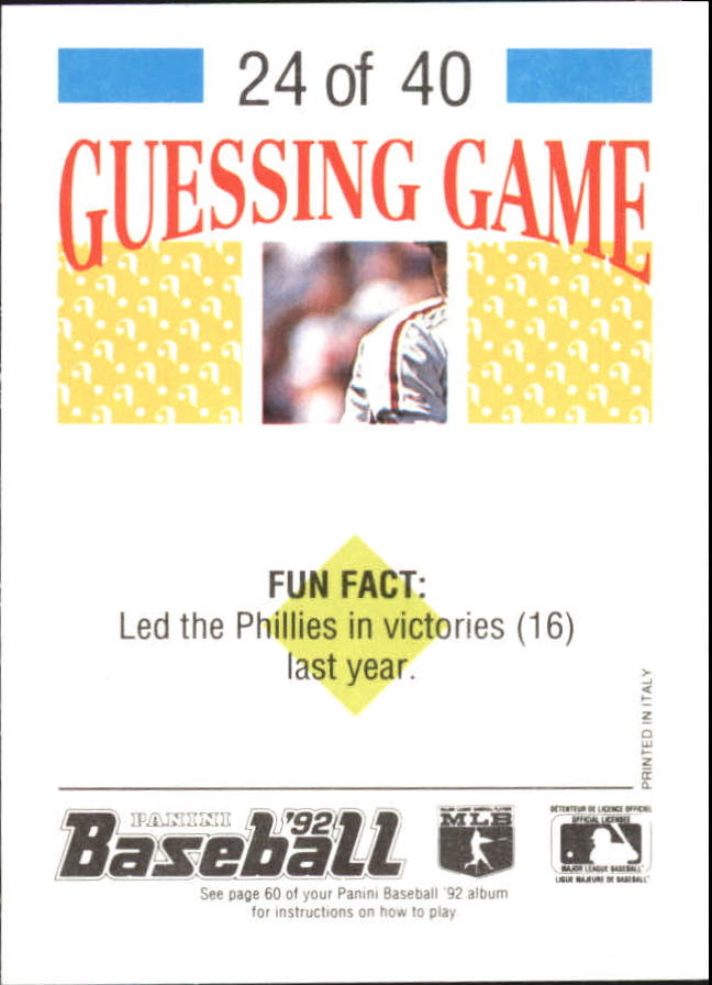 1992 Panini Stickers #52 Greg Swindell back image
