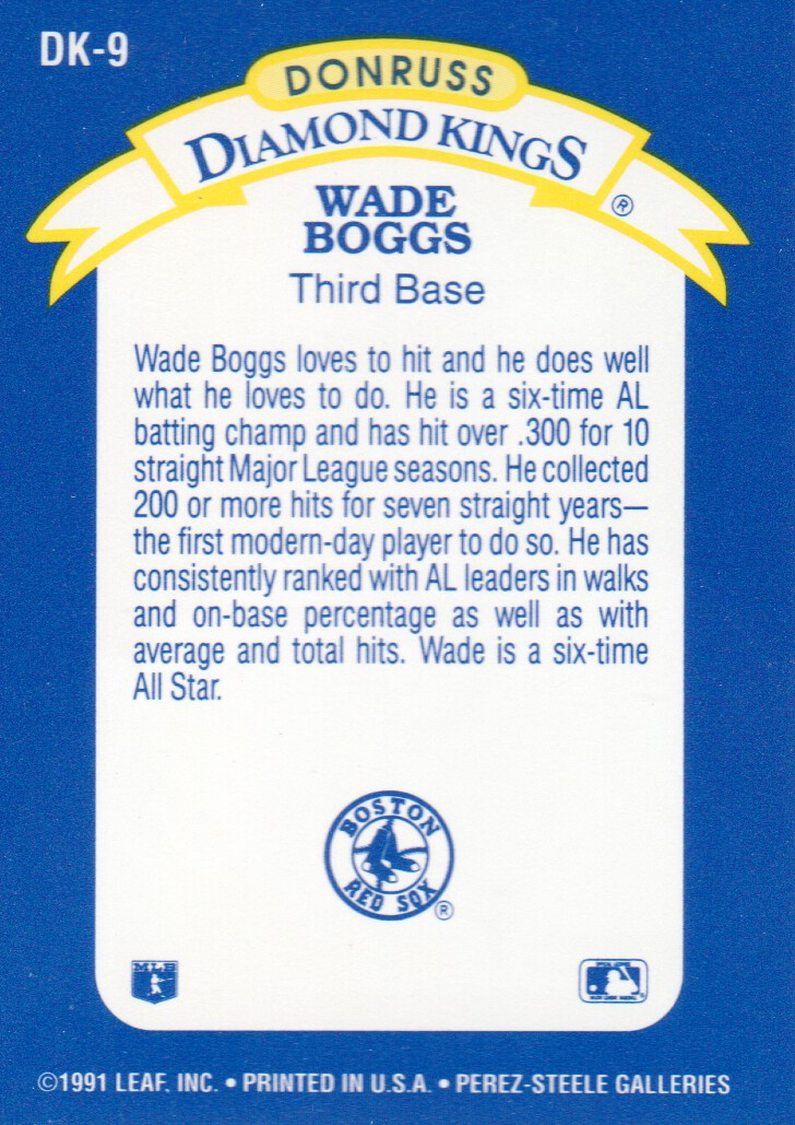 1992 Donruss Diamond Kings #DK9 Wade Boggs back image