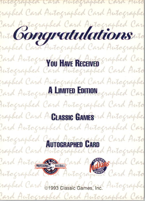 1993 Classic/Best Autographs #AU7 Paul Shuey back image