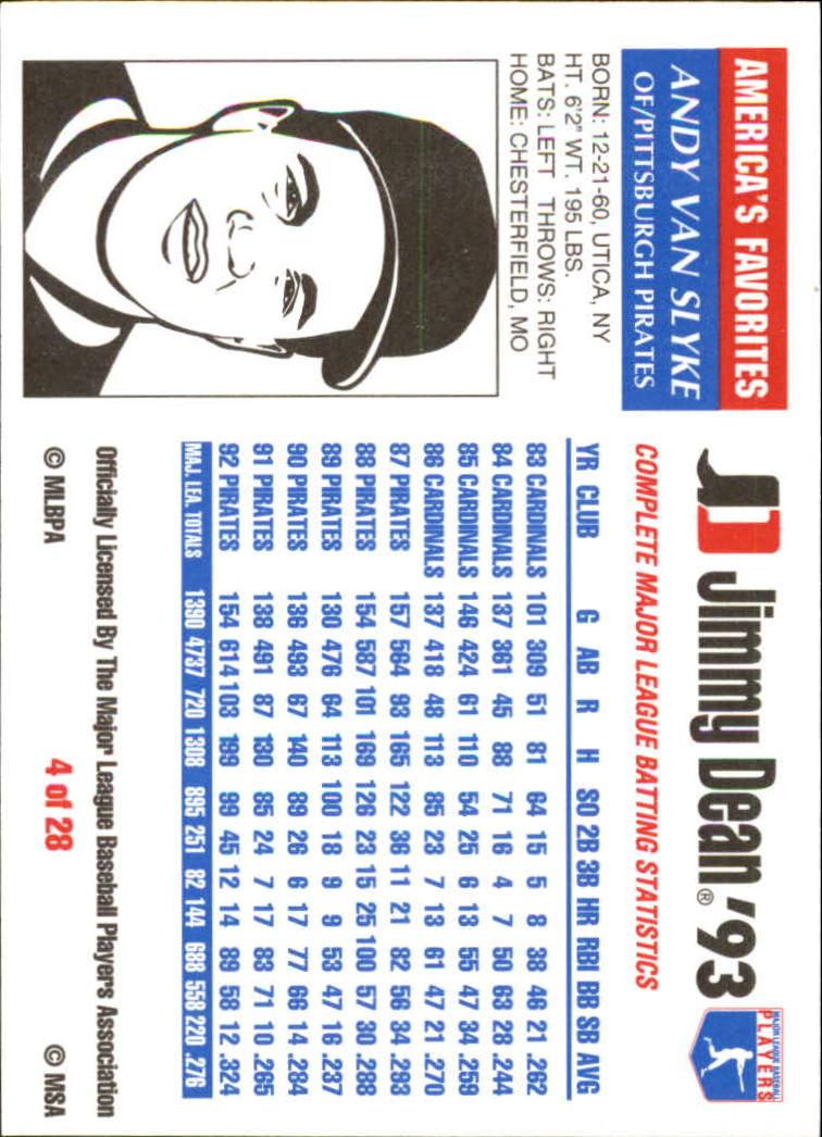 1993 Jimmy Dean #4 Andy Van Slyke back image