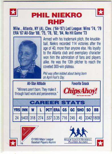 1993 Nabisco All-Star Autographs #4 Phil Niekro back image