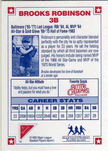 1993 Nabisco All-Star Autographs #5 Brooks Robinson back image