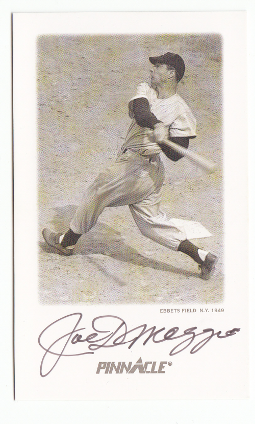 1993 Pinnacle DiMaggio Autographs Yankee Clipper #5 Joe DiMaggio/Ebbets Field