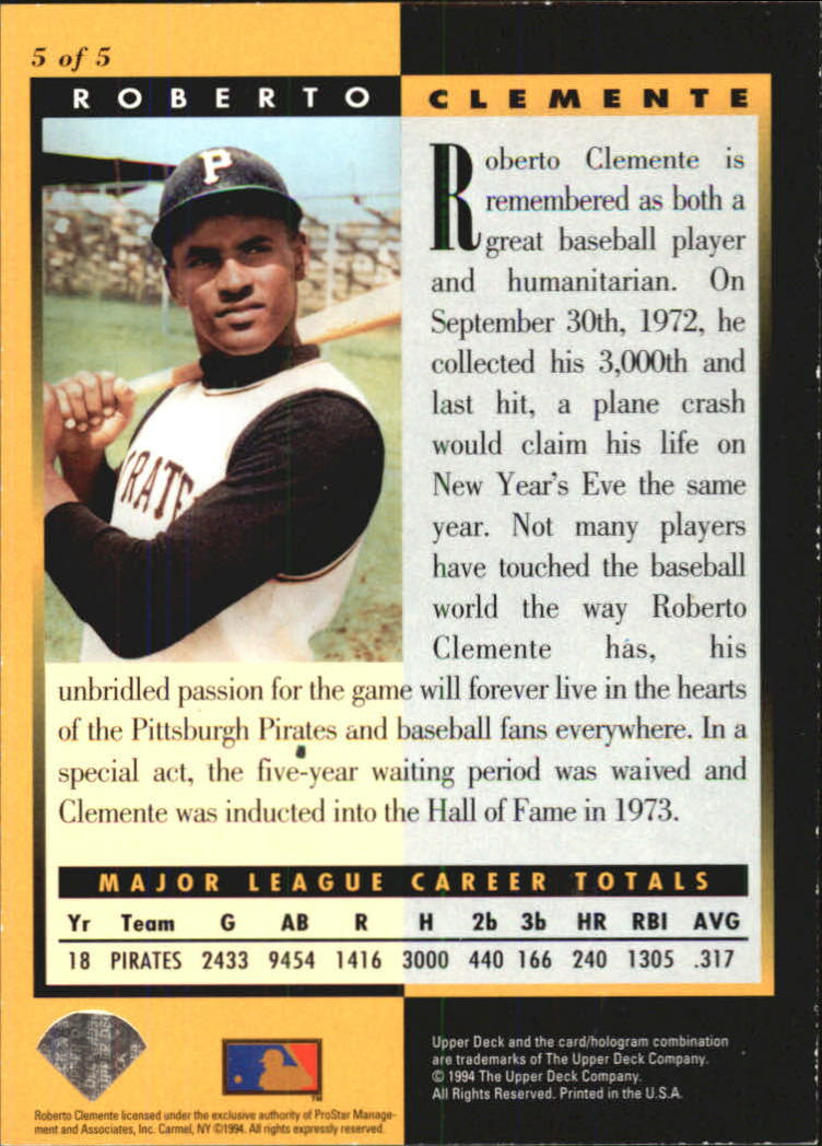 1994 FanFest Clemente #5 Roberto Clemente/Upper Deck Electric back image