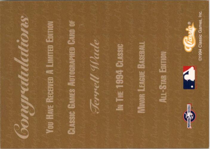 1994 Classic Autographs #AU2 Terrell Wade/2080 back image