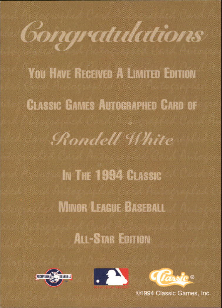 1994 Classic Autographs #AU4 Rondell White/2880 back image