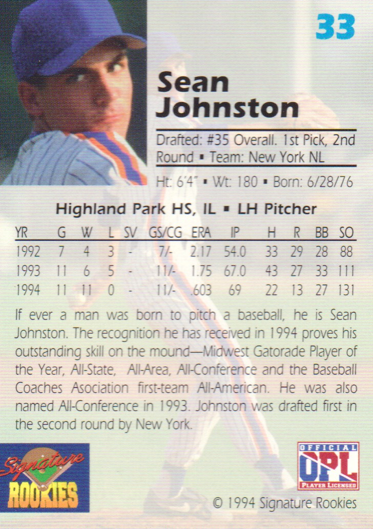 1994 Signature Rookies Draft Picks Signatures #33 Sean Johnston back image