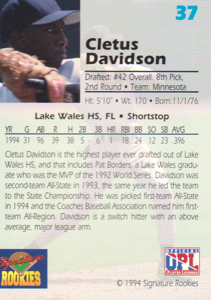 1994 Signature Rookies Draft Picks Signatures #37 Cletus Davidson back image