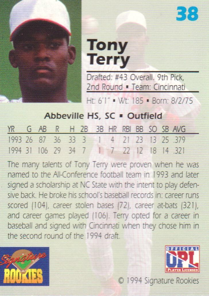 1994 Signature Rookies Draft Picks Signatures #38 Tony Terry back image