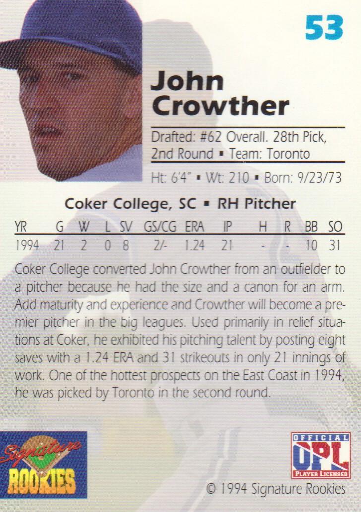 1994 Signature Rookies Draft Picks Signatures #53 John Crowther back image