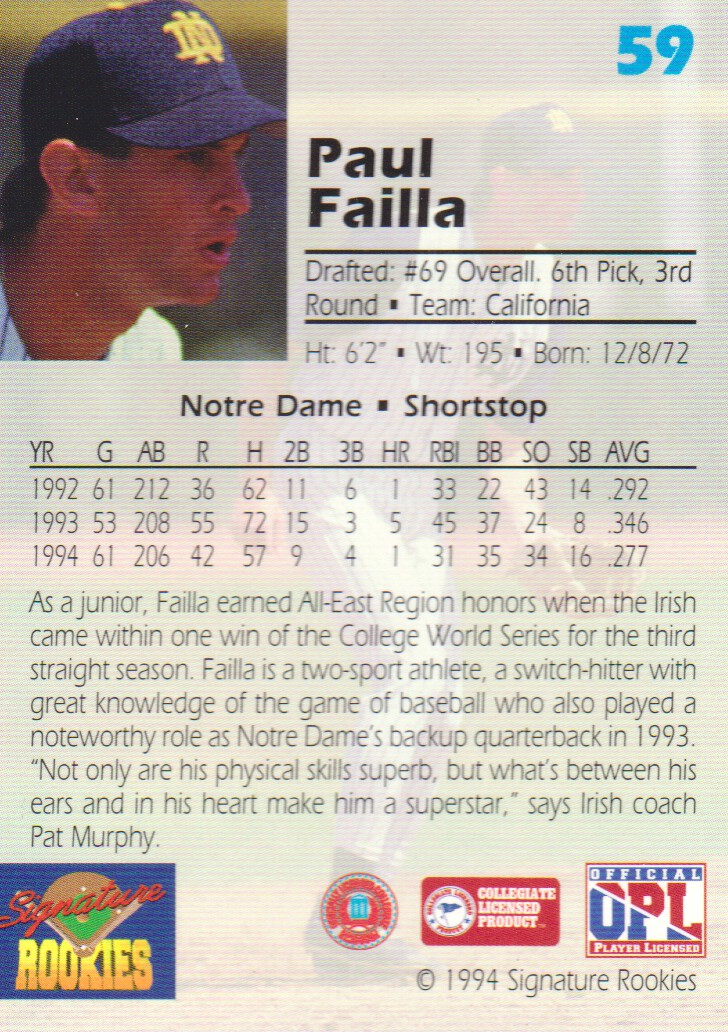 1994 Signature Rookies Draft Picks Signatures #59 Paul Failla back image
