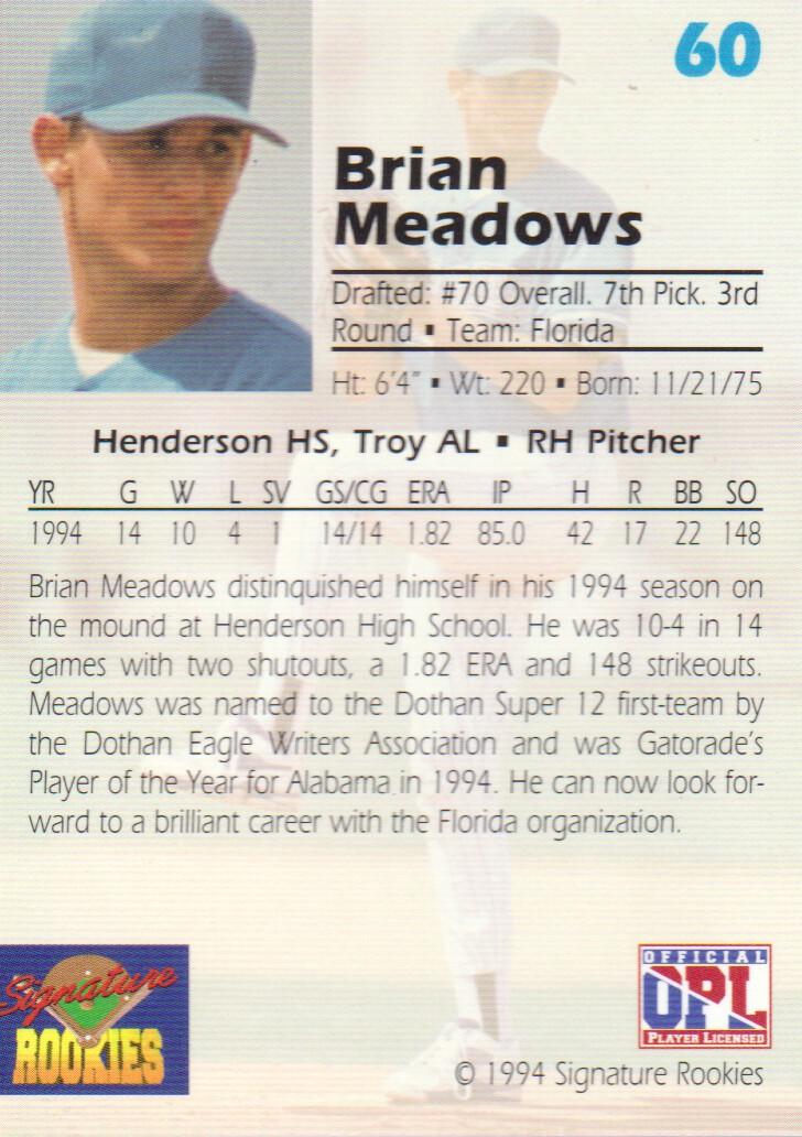 1994 Signature Rookies Draft Picks Signatures #60 Brian Meadows back image