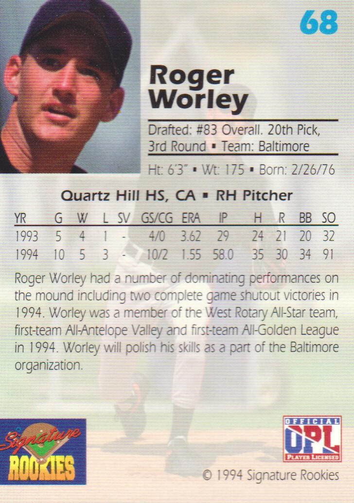 1994 Signature Rookies Draft Picks Signatures #68 Roger Worley back image
