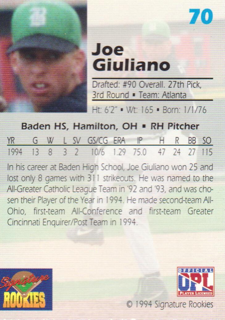 1994 Signature Rookies Draft Picks Signatures #70 Joe Giuliano back image