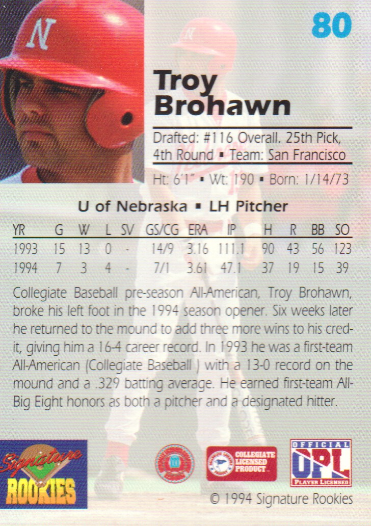 1994 Signature Rookies Draft Picks Signatures #80 Troy Brohawn back image