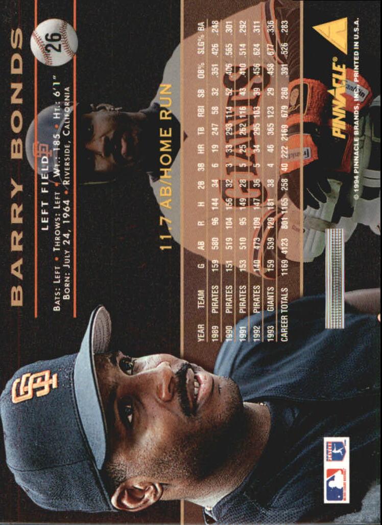 1994 Pinnacle Artist's Proofs #26 Barry Bonds back image
