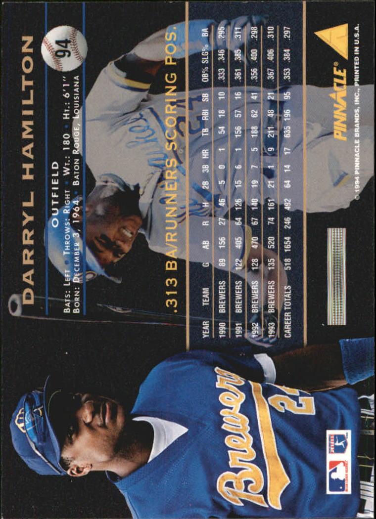 1994 Pinnacle Artist's Proofs #94 Darryl Hamilton back image