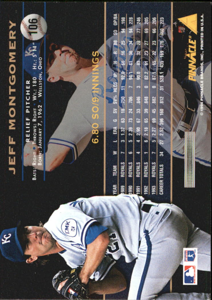 1994 Pinnacle Artist's Proofs #106 Jeff Montgomery back image