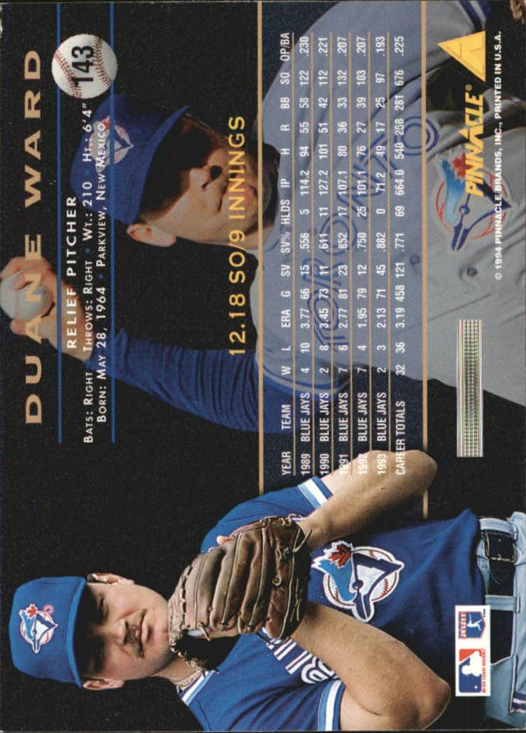 1994 Pinnacle Artist's Proofs #143 Duane Ward back image