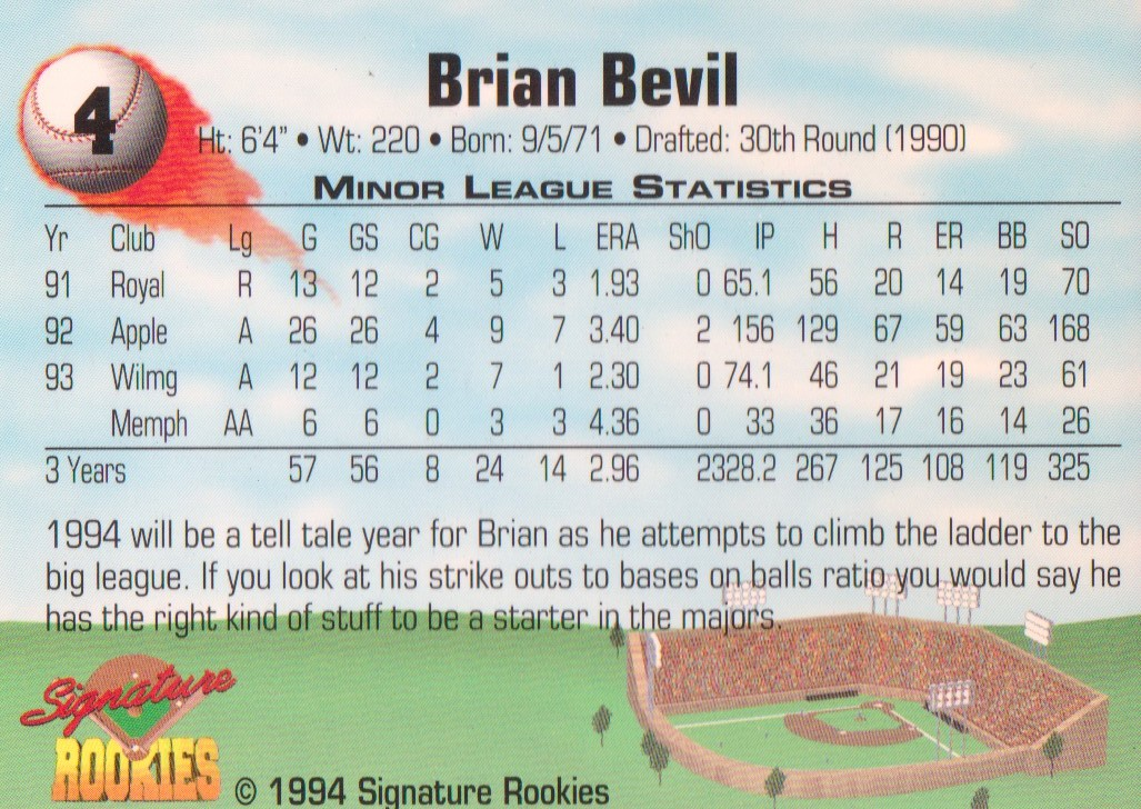 1994 Signature Rookies Signatures #4 Brian Bevil back image