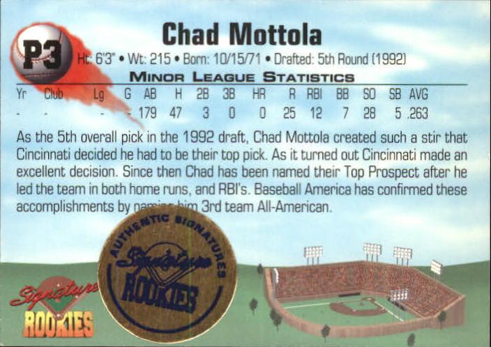 1994 Signature Rookies Bonus Signatures  #P3 Chad Mottola/1652 back image
