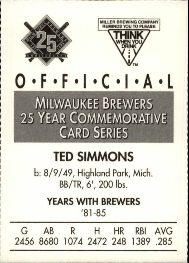 1994 Brewers Miller Brewing #352 Ted Simmons/(Head Shot) back image