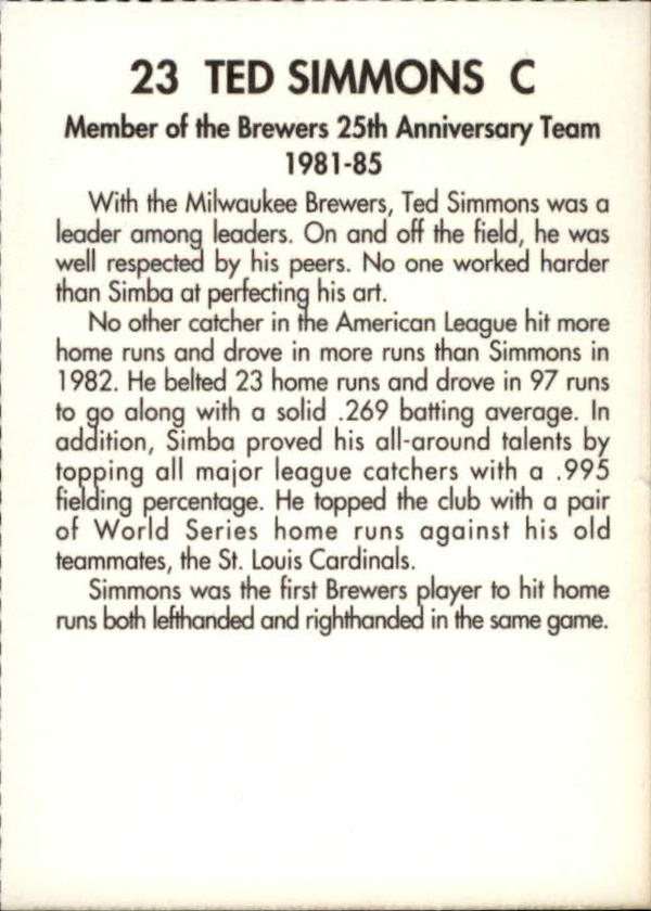 1994 Brewers Miller Brewing #353 Ted Simmons/(Action Shot) back image