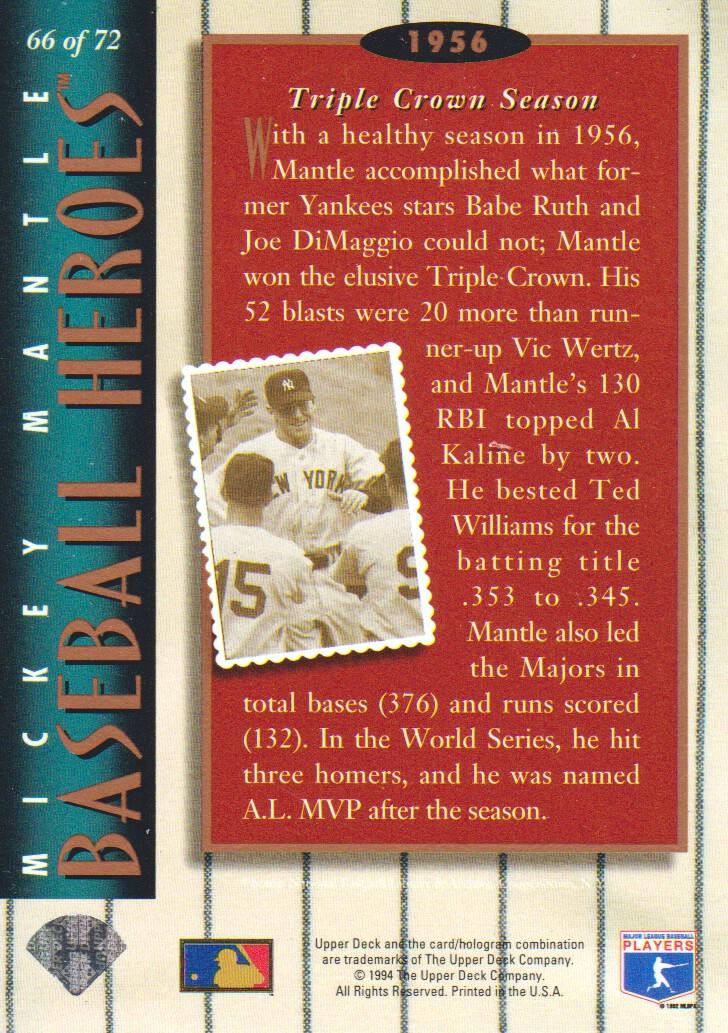 1994 Upper Deck Mantle Heroes #66 Mickey Mantle/1956 Triple Crown/Season back image