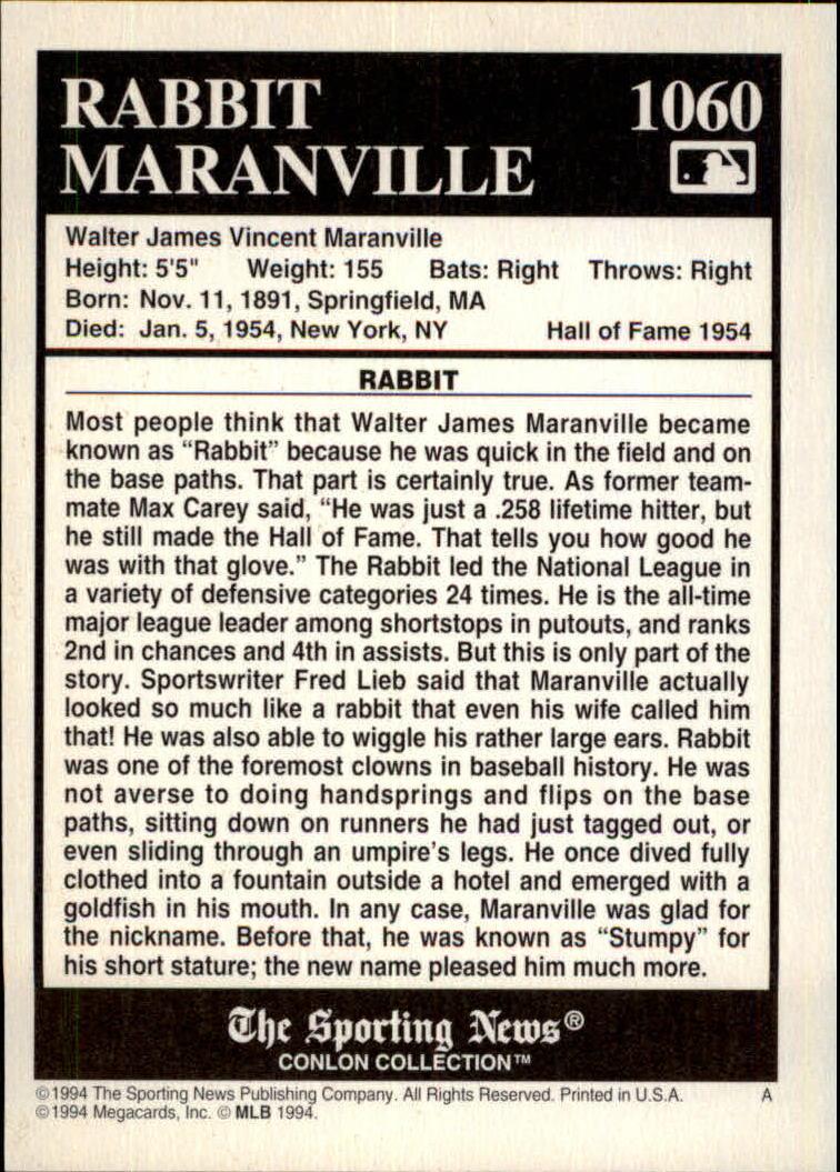 1994 Conlon TSN Burgundy #1060 Rabbit Maranville back image