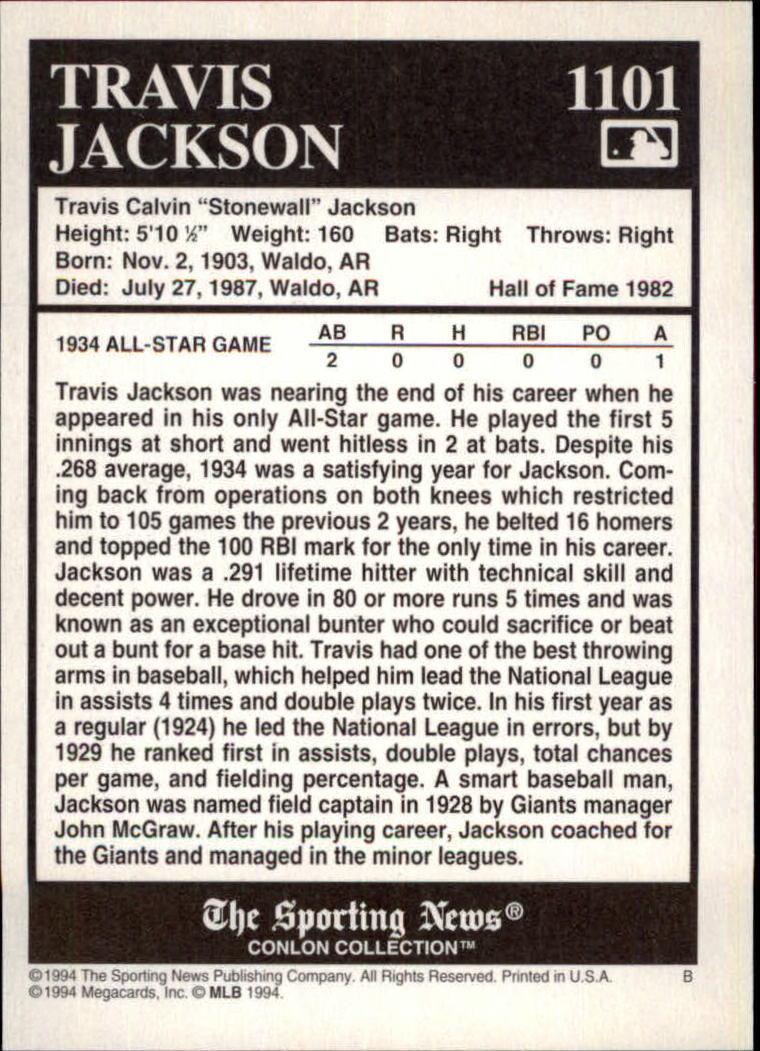 1994 Conlon TSN Burgundy #1101 Travis Jackson back image