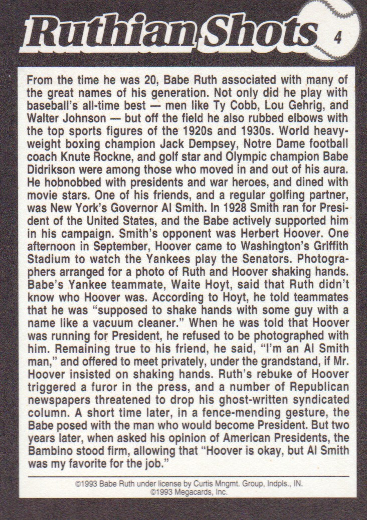 Baseball Trading Cards 1994 Megacards Ruthian Shots Baseball Cards Pick From List
