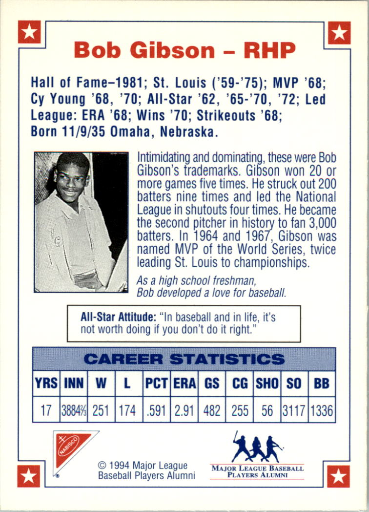 1994 Nabisco All-Star Autographs #1 Bob Gibson back image
