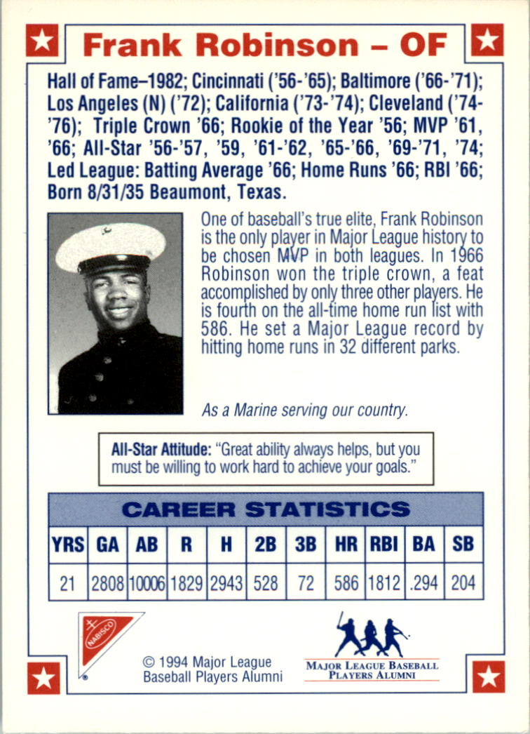 1994 Nabisco All-Star Autographs #3 Frank Robinson back image