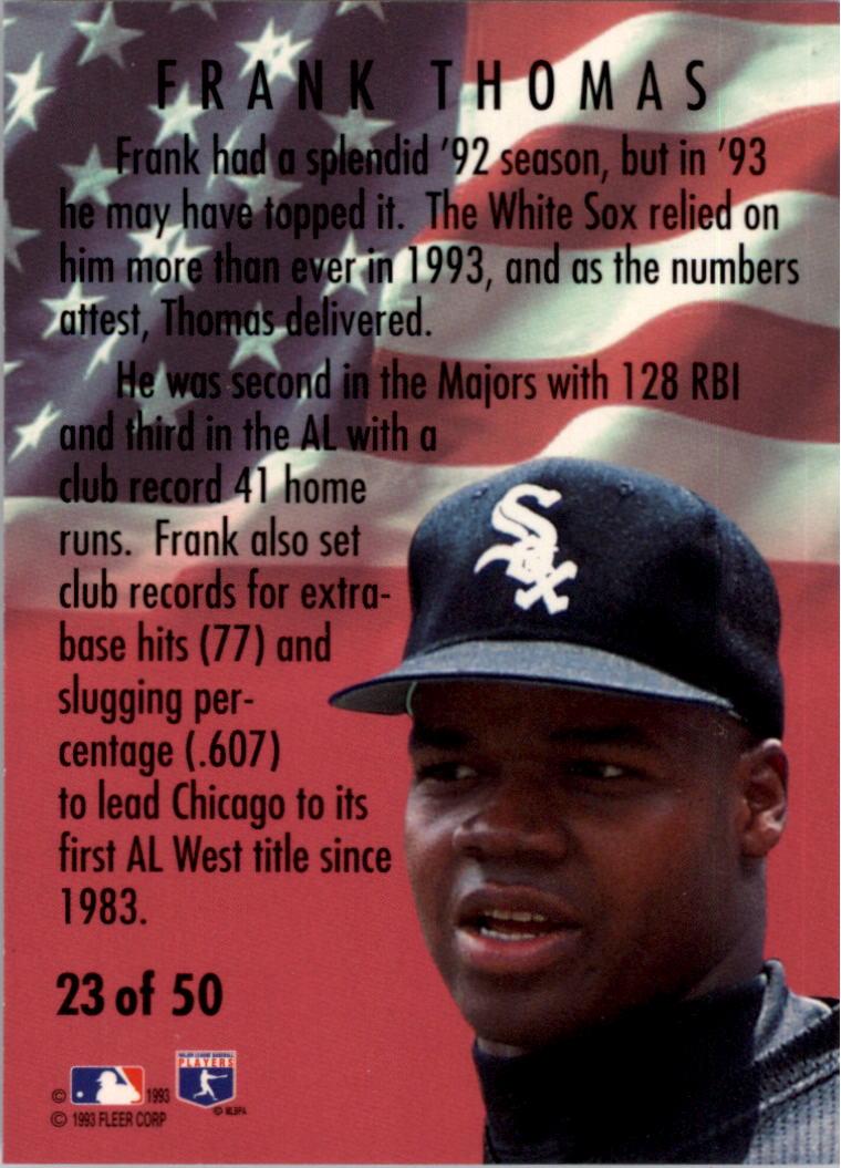 1994 Fleer All-Stars #23 Frank Thomas back image