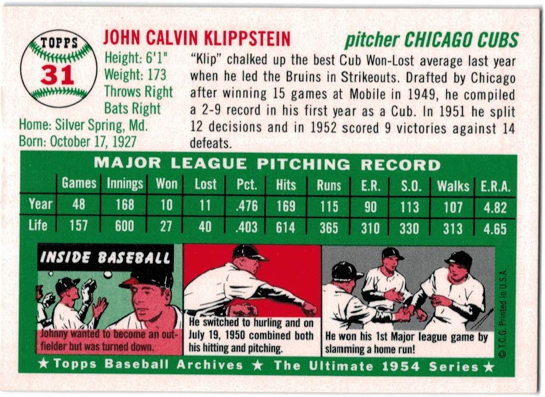 1994 Topps Archives 1954 Gold #31 Johnny Klippstein back image