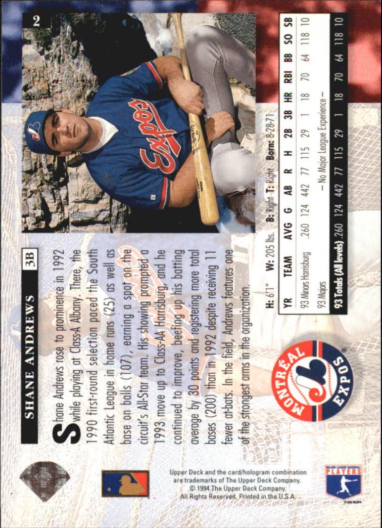 1994 Upper Deck Electric Diamond #2 Shane Andrews back image