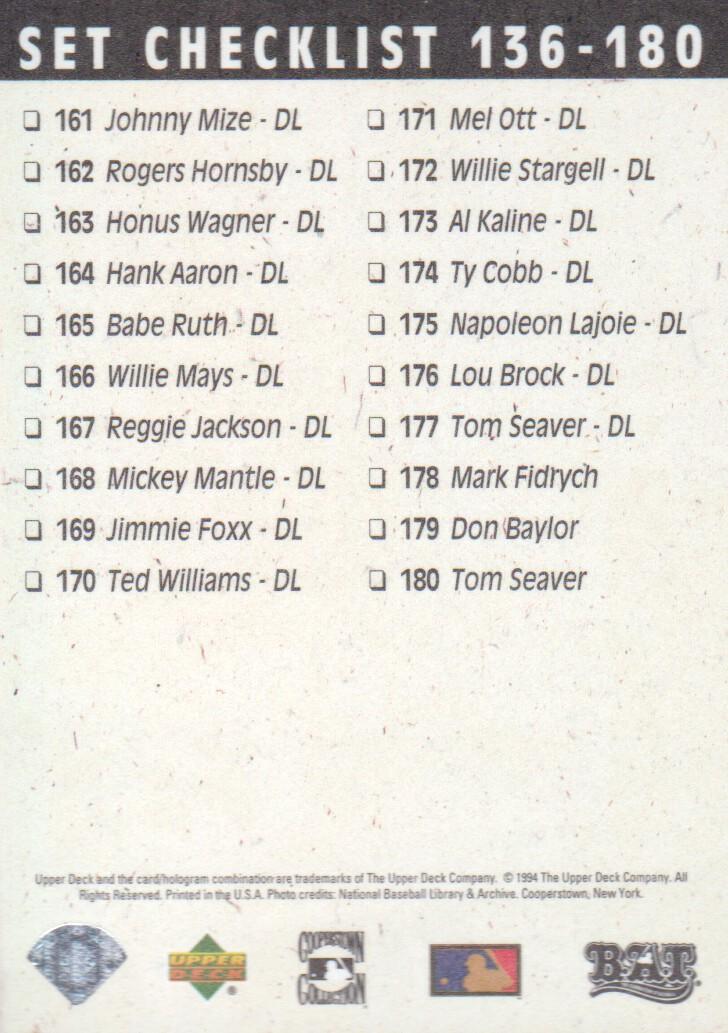 1994 Upper Deck All-Time Heroes #107 Reggie Jackson CL back image