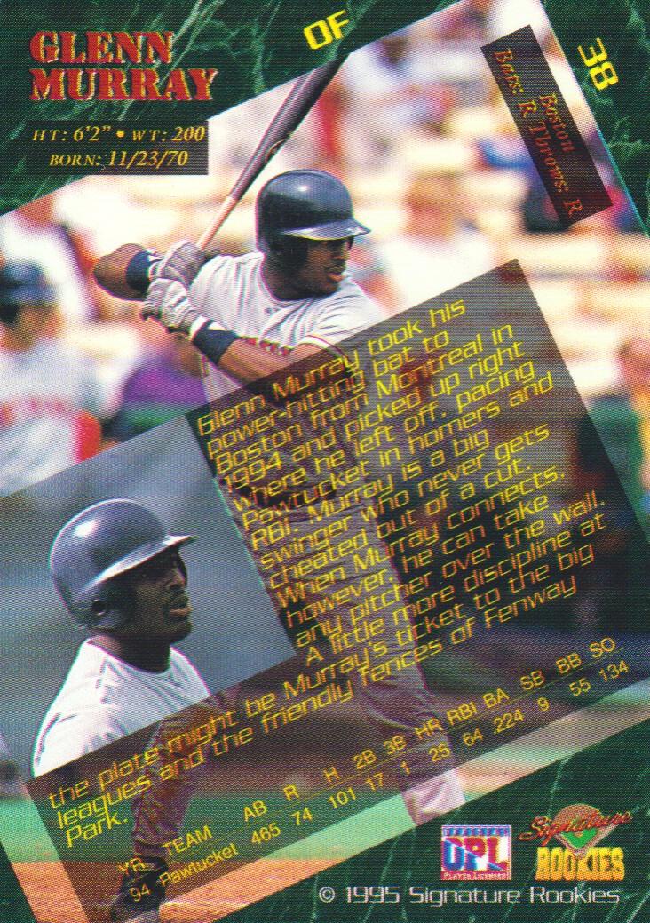 1995 Signature Rookies Signatures #38 Glenn Murray back image